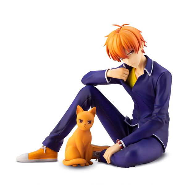 Kyo sitting down with an orange cat