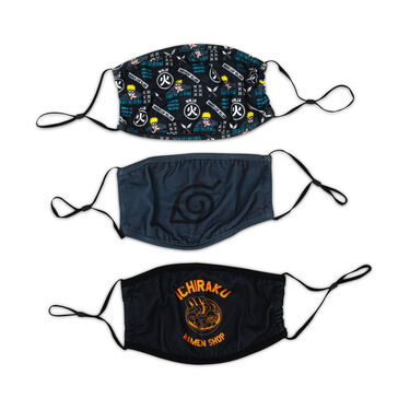 Naruto 3 Pack Adjustable Face Covers