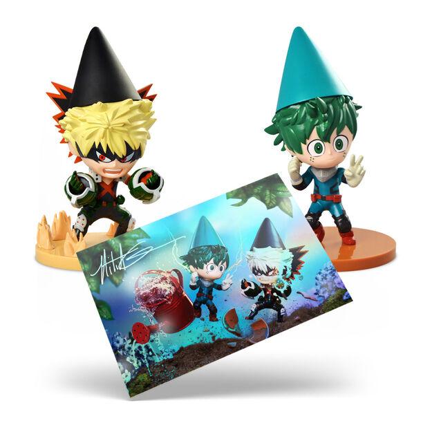 Deku & Bakugo Garden Gnomes 2-Pack + Mitchel Wu Holographic Postcard  my hero academia collectibles