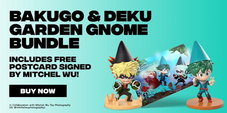 Bakugo and Deku Garden Gnome Bundle. Includes Free Postcard Signed by Mitchel Wu!